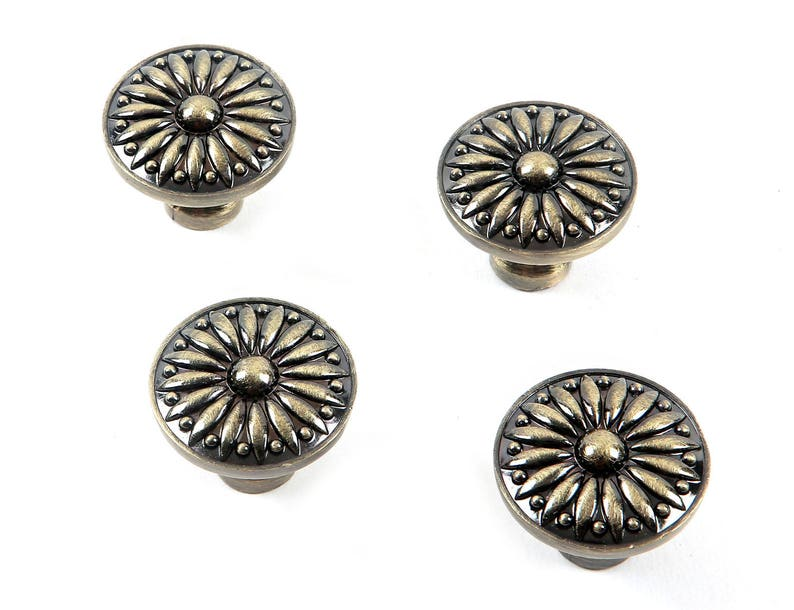 Set of 4pcs Round Drawer Knobs JP8231-Bronze Finished Door Knob Handle Pull for Cupboard Cabinet Drawer