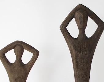 African Figure Art Carved Vintage Antique Wood 20 cm Ghana giraffe 778
