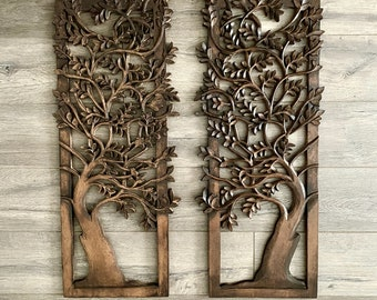 Carved wood wall hanging,decor,panel art,30 x 12 inch approx ,white distress finish,wood finish.