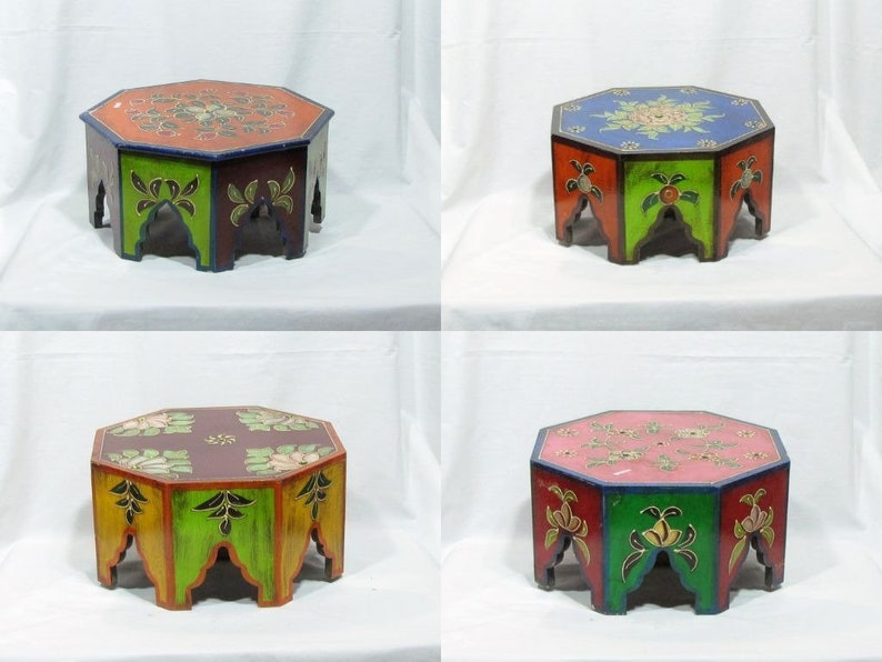 Plant stand,low stool,altar accessory,Hindu shrine,temple accessory,India  gift,pooja chowki,bajot,ethnic hand painted