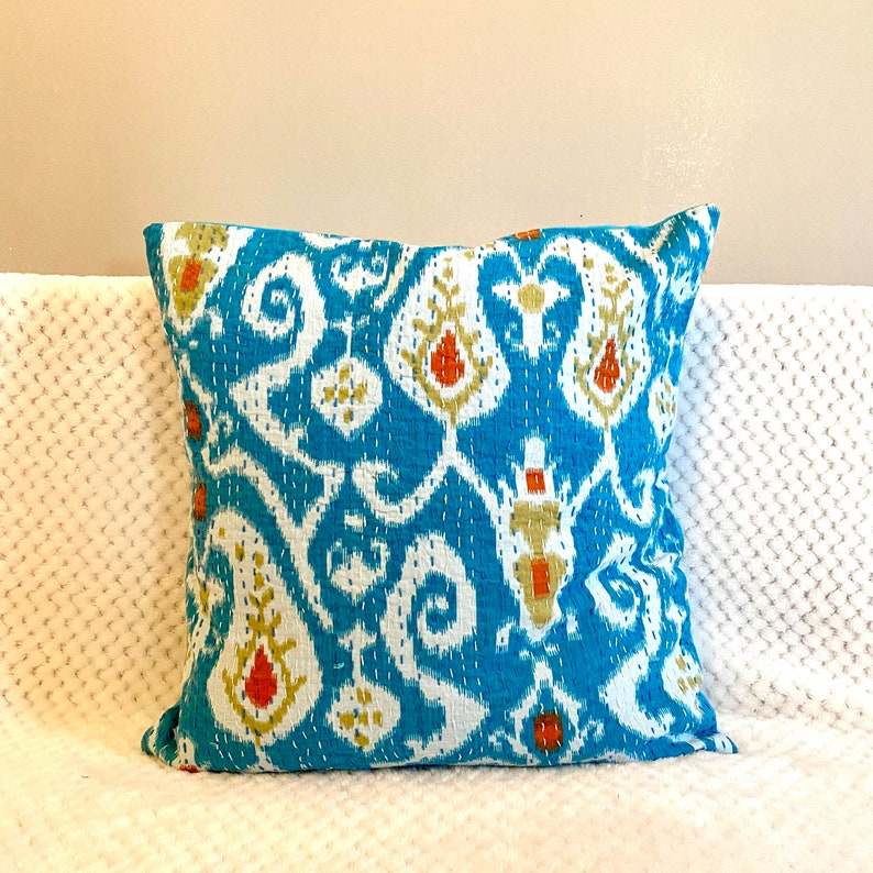 Ethnic Kantha Stitch Tropical Birds Cushion Cover ikat,Teal,Blue,16 inches square,throw pillows boho,bohemian,India home decor,hippy,hippie