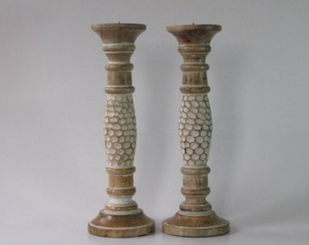Set of 2.Pillar candle holder,wood candle holder,wooden,White antique distressed finish,wooden Pillar candle holder.