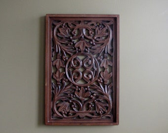 Decorative wood carved panels,Hand Carved wooden wall hanging,decor,panel art,18 x 12 inch,white distress finish,wood finish.more designs