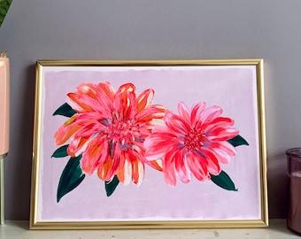 Peony Print, Lilac Hand Painted Flower Print