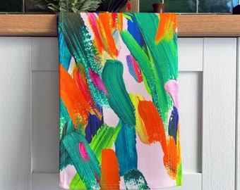 Rainbow Abstract Tea Towel - Colourful Abstract Cotton Kitchen Towel