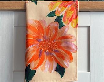 Peony Floral Print Tea Towel - Peony Flower Cotton Kitchen Towel