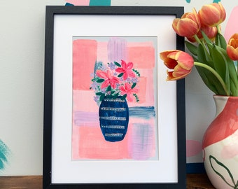 Flower Vase Colourful Print - Floral Vase Illustration