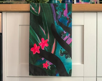Botanical Animal Print Tea Towel - Tropical Leaf Cotton Kitchen Towel