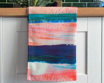 Stripes Tea Towel - Colourful Pink Blue Stripe Cotton Kitchen Towel