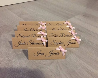 Wedding Place Cards with Satin Bow