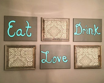 Wall Art - Eat.Drink.Love - 20x24 - Dining Room Decor - Kitchen Decor - Home Decor - Eat Drink Love
