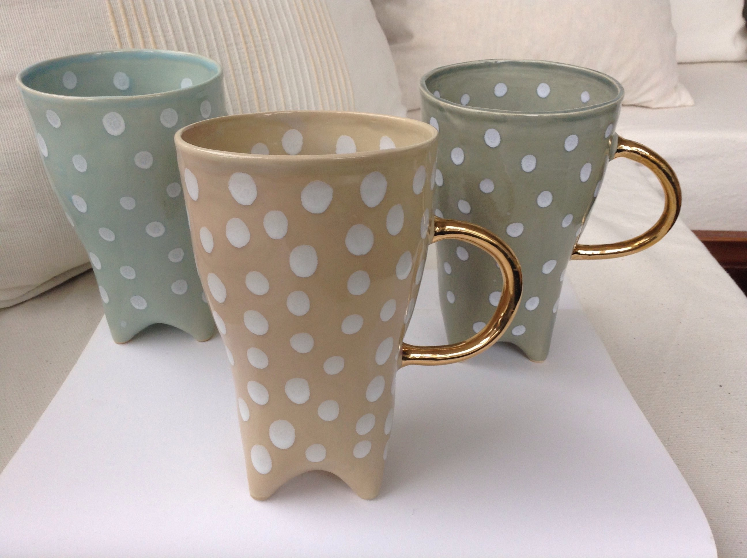 New Polka Dot Mania Cups 135 Oz Ceramic Mug Tall Elegant Etsy
