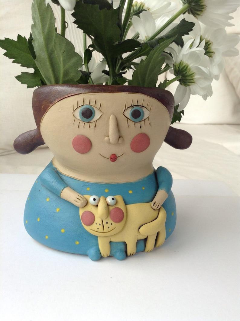 Girl and kitty ceramic planter vase Art doll vase High quality stoneware and porcelain art New home gift