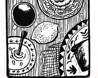 Sunday Breakfast Original Linocut Art Print