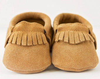 Caramel Brown Organic Suede Leather Baby Moccasins