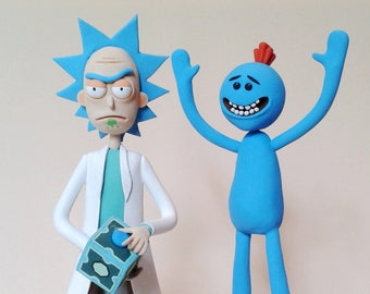 Rick and mr. Meeseeks figurines Rick and Morty figurine Rick Sanchez figurine from Rick and Morty cartoon Rick figure Morty Figure