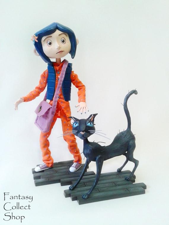 Coraline With Cat Figurine Figure Coraline Cartoon Handmade Etsy