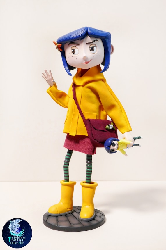 Coraline In Yellow Raincoat With Cat Figurine Figure Coraline Etsy