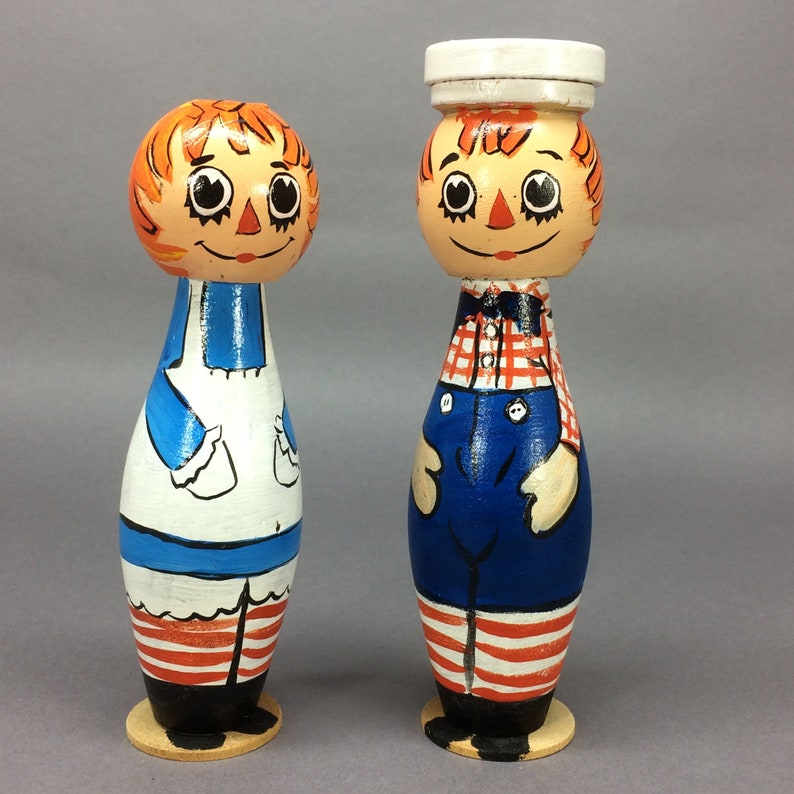 Hand Painted Turned Wood Raggedy Ann & Andy Dolls image 0