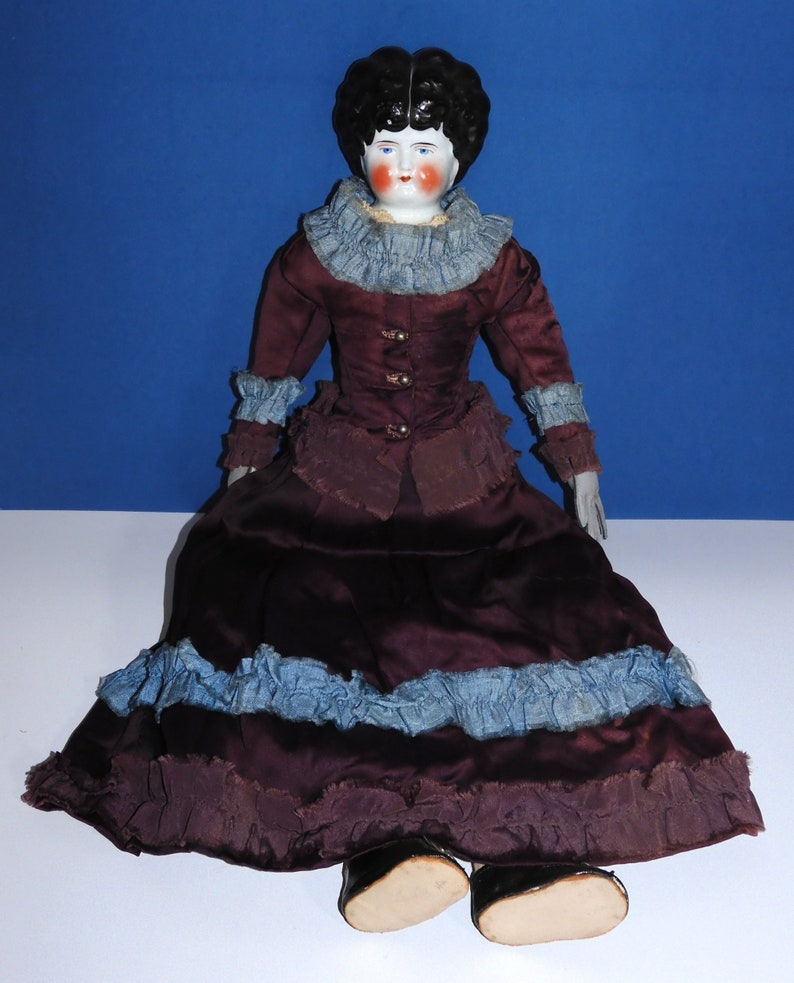 Antique Hertwig China Head Doll in Beautiful Silk Dress  image 0
