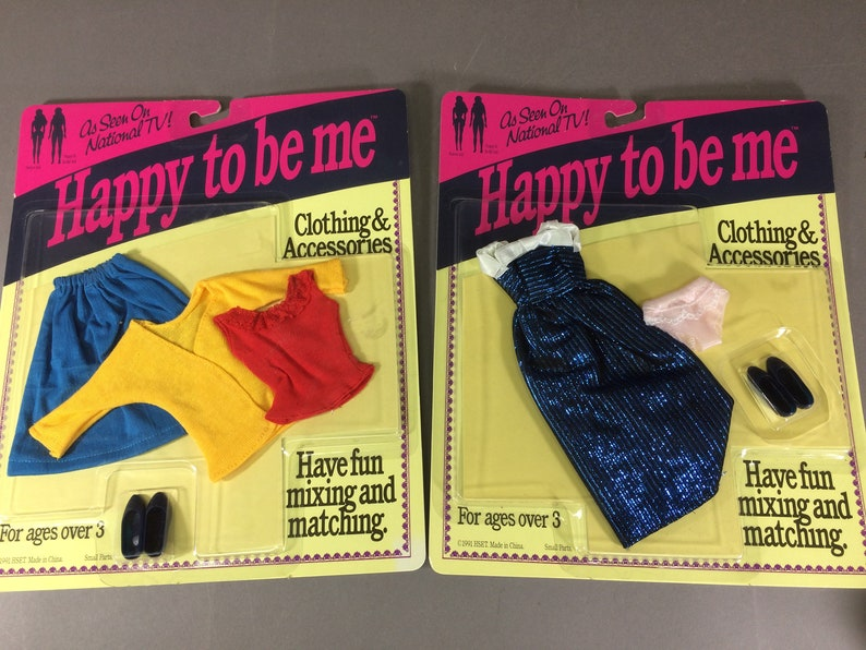 2 Happy To Be Me Doll Outfits  Vintage 1990s Barbie Clone  image 0