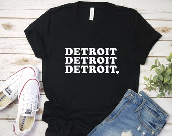 Detroit Love V-neck T Shirt, Love Your Home Town, Cute T Shirt, Detroit City, Hometown Love, City Love
