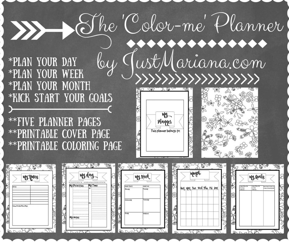 color me plannera printable day week planner pages with a etsy
