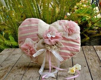 Wedding Ring Pillow, Ring Bearer Pillow, Romantic Wedding Pillow, Ring Pillow, Ring Bearer, Heart Ring Cushion, Shabby Chic Wedding, Pink