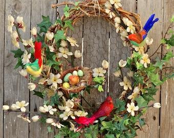 Spring Wreaths, Summer Wreaths, Bird Decor, Grapevine Floral Wreaths for Front Door, Summer Spring Door Wreaths, Cottage Farmhouse Wreaths