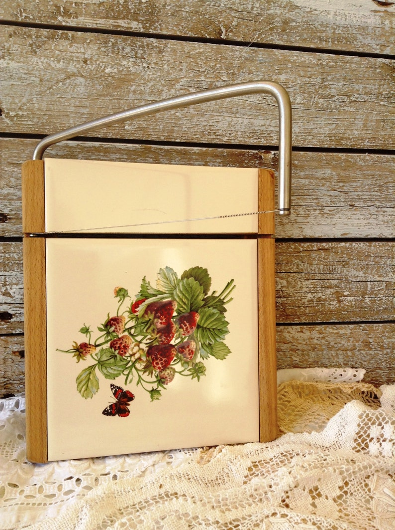 Cheese Plate Cheese Slicer Serving Board Vintage Wood and Tile Cheese Cutting Board English Cheese Wire Cutter Board Farmhouse Kitchen