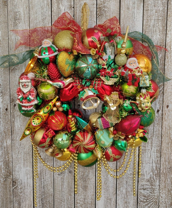 Christmas Wreaths.Christmas Wreaths For Front Door Vintage Christmas Decorations Ornament Wreath Christmas Door Wreath Holiday Wreath Mid Century Antique
