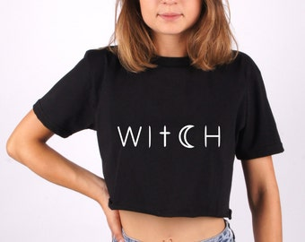 Witch t-shirt, Witch tee, write tee, apparel, top, tees, t-shirt, tee, cross tee, moon tee, dark, clothing, 100% cotton, made in Italy