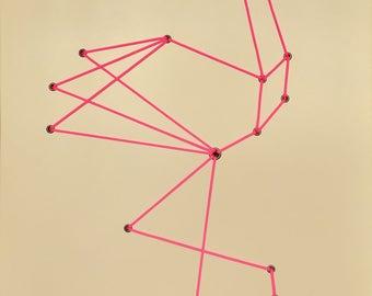 Pink Geometric Shoelace Flamingo