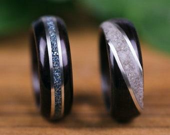 Wedding rings, engagement, Sbony Macassar, wooden rings, silver, Howlite, woman ring, man, glasses flakes, blue