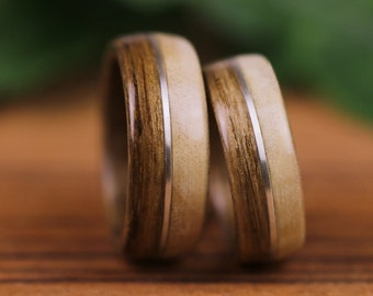Wedding rings, engagement, oak, wooden rings, poplar, silver, wooden wedding rings