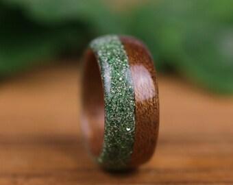 Wooden ring, mahogany, woman wedding ring, engagement ring, wedding ring, wooden ring, glass glitter