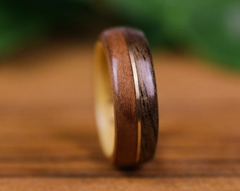 Wooden ring, pear tree, wooden wedding ring, engagement ring, wedding ring, olive tree, wooden ring, walnut and gold thread