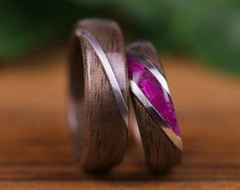 Wedding rings, wooden rings, wedding rings, engagement, Walnut, Agathe slice pink,silver sterling925