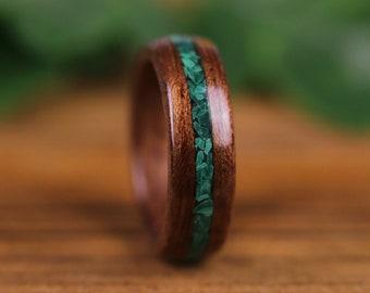 Wooden ring, bubingue, wooden wedding ring, engagement ring, wedding ring, wooden ring, stone, Malachite