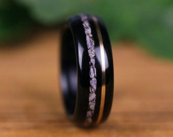 Wooden ring, wooden wedding ring, Sbony Macassar, engagement ring, wedding ring, woman's wedding ring, man ring,gold, Charoite