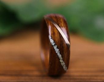Wooden ring, Palissandre, men's wedding ring, engagement ring, wedding ring, woman's wedding ring, gold, Turquoise