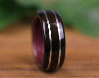 Wooden ring, wooden wedding ring, engagement ring, man ring, wooden ring,Amarante and sterling silver yarn 925