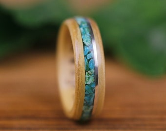 Wooden wedding ring, Olivier, wooden ring, woman wedding ring, engagement ring, man ring, Chrysocolle, sterling silver