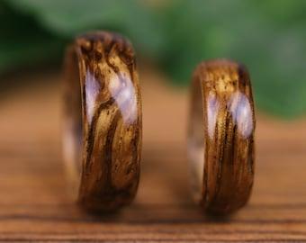 Engagement rings, wedding, wooden wedding rings, Zebrano, man ring, woman, wooden rings