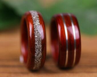 Wooden wedding rings, wedding, engagement, Padouk, Strawberries, silver, wooden rings, man, woman