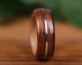 Wooden ring, wooden wedding ring, engagement ring, wedding ring, men's ring, woman's wedding ring, violet wood, silver