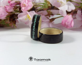 Ring bearer for wedding or engagement India rosewood and Sycamore-rings-wood-made to the handmade wedding ring