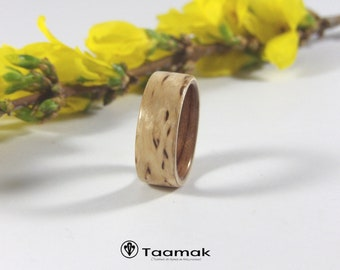 Birch wedding marbled and Bubinga-rings-wood wedding ring