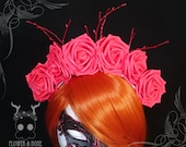Red Rose with Glitter Red Twigs Flower Crown | Floral headband headdress festival cosplay lolita fantasy