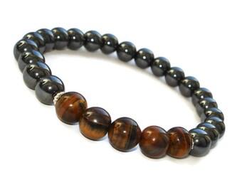 mens beaded bracelet mens jewelry boyfriend birthday gift for him tiger eye bracelet men energy bracelet hematite bracelet mala bracelet men